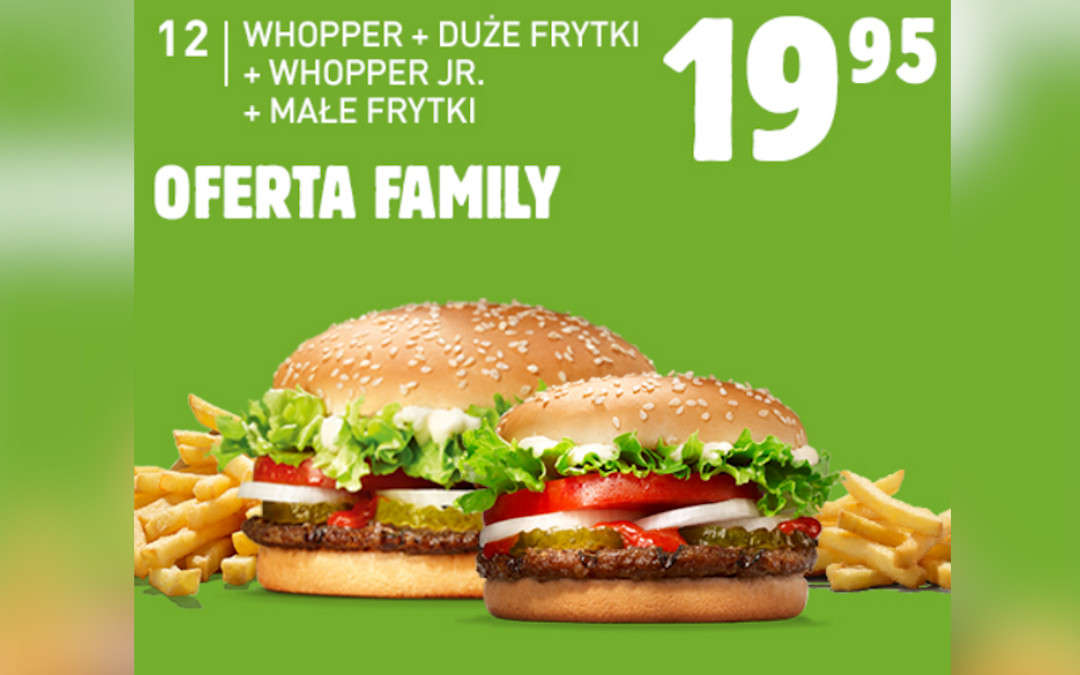 Whooper + duże frytki + Whooper Jr. + małe frytki