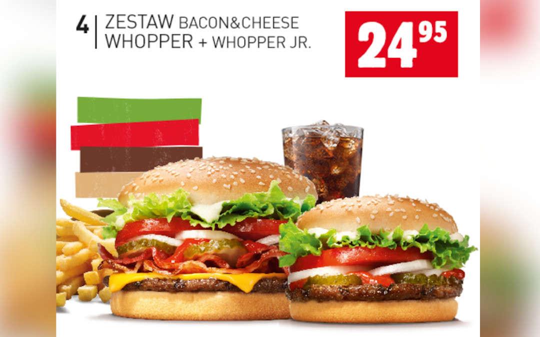Zestaw Bacon&Cheese Whooper + Whooper Jr.