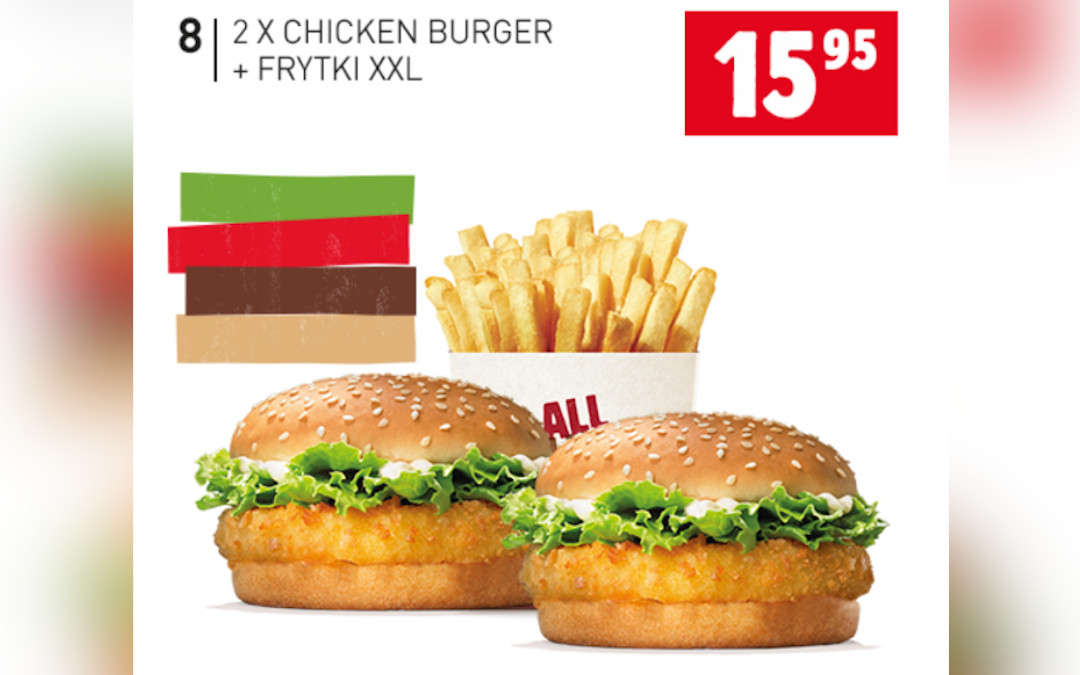 2 x Chicken Burger + frytki XXL