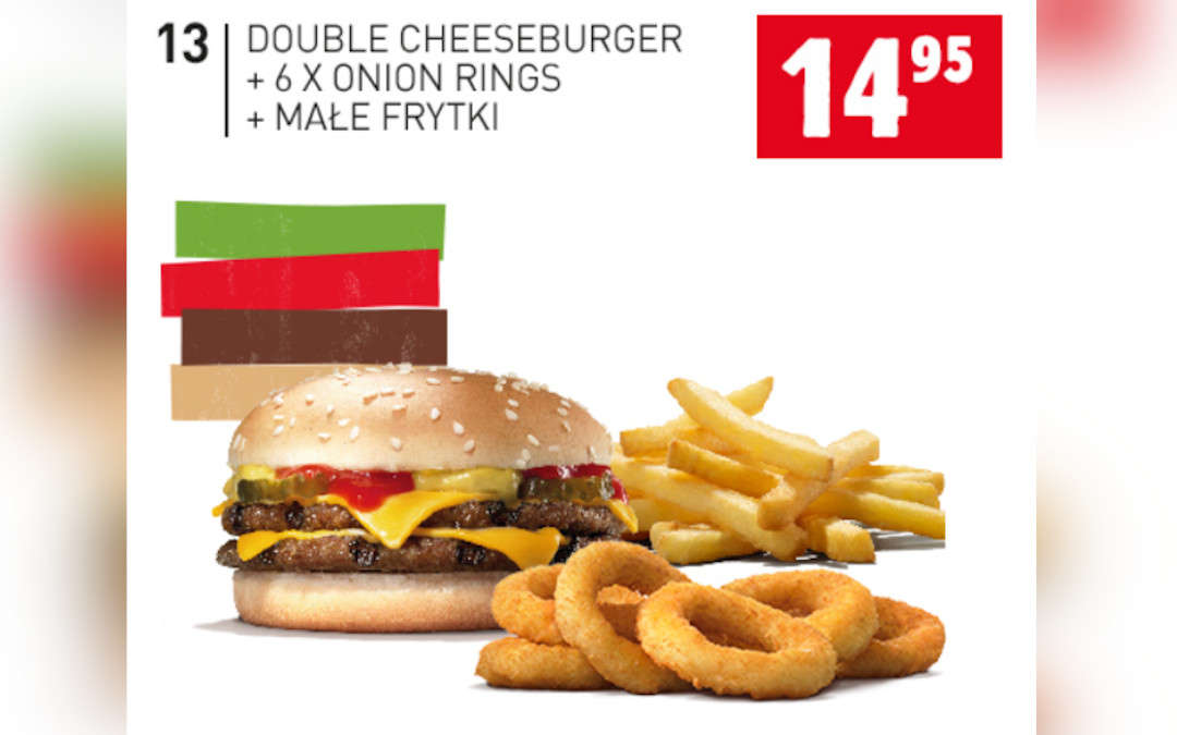 Double Cheeseburger + 6 x onion rings + małe frytki
